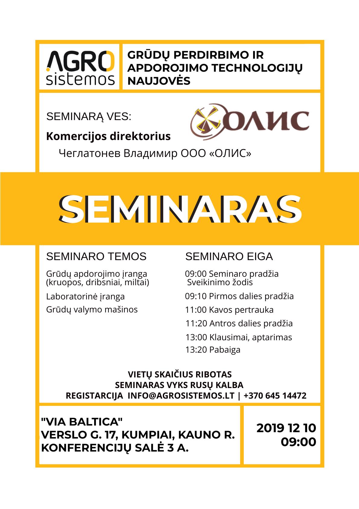 """Seminaras """"Grūdų apdorojimo ir perdirbimo technologijų naujovės"""""""