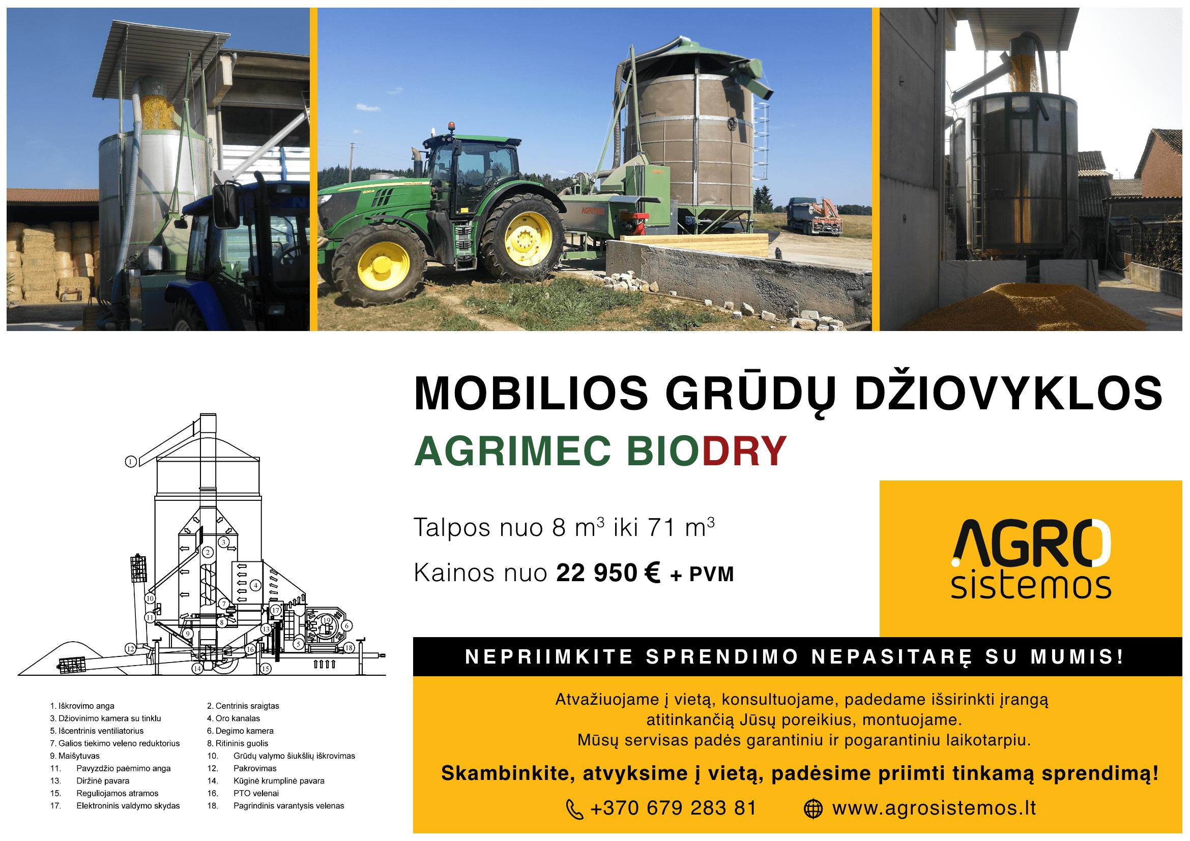 Mobilios grūdų džiovyklos Agrimec Biodry